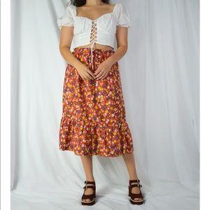 VINTAGE/ floral daisy skirt